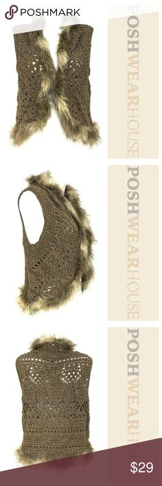 Brown, Off White & Gray Knit Faux Fur Sweater Vest Swing front • Acrylic, Nylon & Wool • Faux Fur Trim is Acrylic, Polyester & Modacrylic Relativity Sweaters Cardigans