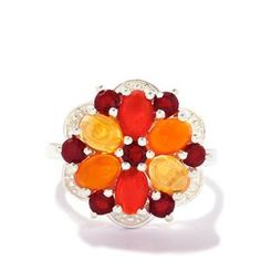 Fire Opal Ring in Sterling Silver 2.32cts