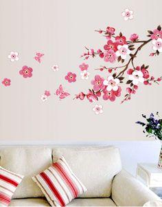Beautiful Sakura wall stickers living bedroom decorations diy flowers home decals mural arts adesivos de paredes poster