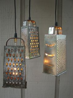 Vintage Upcycled Lighting | Upcycled Vintage Colander and Grater Pendant ... | Rustic Homes and B ...