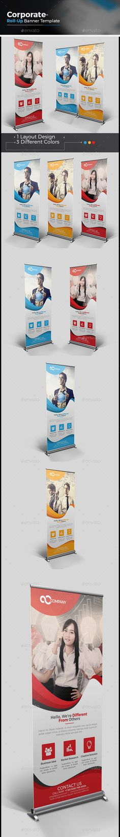 Corporate Roll-up Banner Template Vector EPS, AI #design Download: http://graphicriver.net/item/corporate-rollup-banner/14445287?ref=ksioks