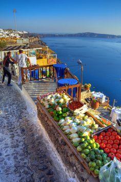 Santorini, Greece - what a beautiful locale for a Farmer's market!