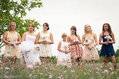 Bridesmaids pose | mismatched dresses | Rustic | Weyauwega, WI