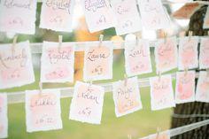 #escort-cards, #watercolor  Photography: Ashley Bosnick Photography - ashleybosnick.com  Read More: http://www.stylemepretty.com/southwest-weddings/2014/02/10/romantic-lakeside-arm-wedding/