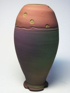 Jim Kemp Contemporary Modern Art Pottery Pink Purple Turquoise Earthenware Vase | eBay
