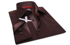 Brown Shirt Replica Grayish Lining Red Braid, Waisted-fit - Dress Shirts for Men - French-Shirts.com