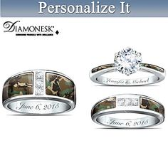 Platinum-plated solid sterling silver camo rings with over carats of Diamonesk® stones. Personalize bands with your engravings. Hunting Wedding Rings, Engraved Wedding Rings, Heart Wedding Rings, Wedding Bands, Gold Wedding, Wedding Vows, Wedding Dresses, Wedding Jewelry, Leaf Engagement Ring