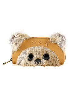 """<p>Ewoks may not have experience with technology, but they know that keeping your money safe is very important. This Ewok is here to store your money and cards and look super adorable doing it! Faux suede zipwallet from Loungefly and <i>Star Wars</i> is made to look like an Ewok with faux fur and shiny, beady eyes. Inside you'll find a billfold, 8 card slots and a zipper pocket.</p>  <ul> <li>Approx. 8"""" x 4 1/2""""</li> <li>Polyurethane; faux fur; faux suede</li> <li>Im..."""