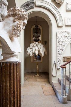 Ostrich feather palm tree lamp | Exceptional Pieces