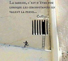 """Jean Cocteau """"La sagesse c'est d'être fou lorsque les circonstances en valent la peine"""""""