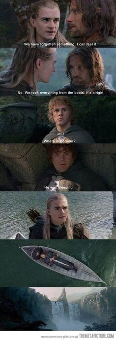Boromir was actually just sleeping...