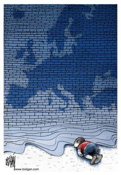 The Blue Wall © Angel Boligan,El Universal, Mexico City, www.caglecartoons.com,EU,Europe,European,Union,children,boy,Syria,refugee,death,beach,wall,crisis