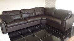 Designer Dark Brown Leather 3 piece corner (139) £899