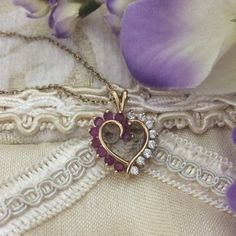 Heart necklace-Rubies and Diamonds 14K PRICE FIRM. Beautiful heart necklace from Macy's. PRICE FIRM. Jewelry Necklaces