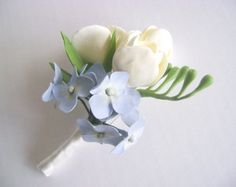 white freesia boutonniere - Google Search
