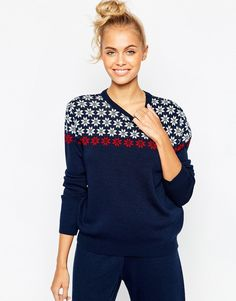 Image 1 of ASOS co-ord Sweater In Holidays Snowflake Pattern