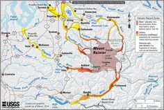 USGS hazard map of Mount Rainier illustrating the potential for ground-based volcanic impacts—lava flows, hot rocks, volcanic gases, and more far-reaching hazards (primarily lahars) in valleys that drain the volcano. Natural Phenomena, Natural Disasters, Yakima River, Volcano Projects, Pyroclastic Flow, Rock Falls, Area Map, Cascade Mountains, Tights