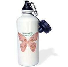3dRose wb_108772_1 Kindness Matters with Pink Vintage Style Butterfly Sports Water Bottle 21 oz White ** Be sure to check out this awesome product.