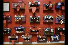 Where The Wild Things Are...Wild Things made out of tissue boxes for display.