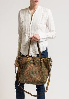 Lotus Flower Print Handled Shopping Bag in Military