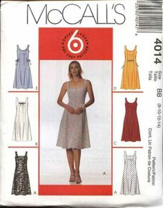 McCall's Sewing Pattern 4014 Misses Size 16-22 Easy Sleeveless Summer Flared Skirt Dress