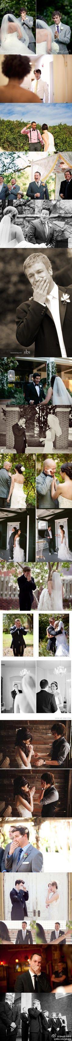 idee per il matrimonio - idea fotografica. foto alla prima espressione dello sposo alla vista della sposa