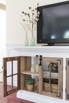 Farmhouse Media Cabinet - buildsomething.com Farmhouse Media Cabinets, Armoires Diy, Farmhouse Tv Stand, Farmhouse Style, Rustic Farmhouse, Corner Tv Stands, Table Diy, Muebles Living, Diy Tv Stand