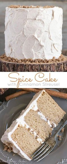 This spice cake is the ultimate comfort food. Paired with cinnamon cream cheese frosting and cinnamon streusel for some crunch. | livforcake.com via @livforcake