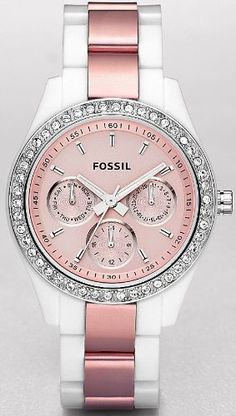 Fossil Stella Multifunction Pink Dial Watch - I need this watch! I love Fossil watches. Bling Bling, Jewelry Accessories, Fashion Accessories, Punk Jewelry, Hippie Jewelry, Pink Watch, Everything Pink, Diamond Are A Girls Best Friend, Girly Things