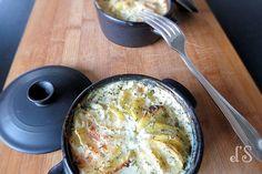 Mini cocottes de gratin de pommes de terre et saumon