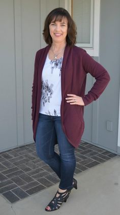 Great winter to spring outfit, @monicaspace, by pairing these DL jeans from Stitch Fix with a floral top and wine colored cardigan!