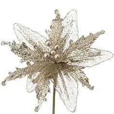 """RAZ Imports - 11"""" Glittered Poinsettia (9"""" Stem)"""