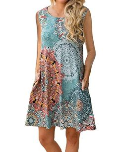 b818b1e9b84 Tanst Boho Dresses for Women Women Summer Sleeveless Damask Print T-Shirt  Dress with Pockets(FBA) (XX-Large