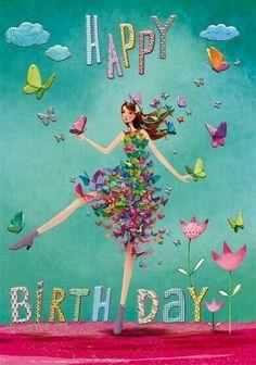 Happy Birthday card by Mila Marquis Happy Birthday Wishes Cards, Birthday Blessings, Birthday Wishes Quotes, Happy Birthday Pictures, Happy Birthday Illustration, Happy B Day, Birthday Fun, Happy Birthday Vintage, Happy Belated Birthday