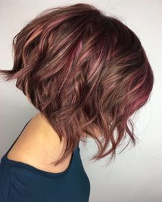 Pink Highlights on Short Brown Hair - All For Hair Color Trending Brown Hair With Pink Highlights, Brown And Pink Hair, Pink Ombre Hair, Brown Ombre Hair, Highlights Short Hair, Summer Hair Color For Brunettes, Cool Hair Color, Hair Colors, Color For Short Hair