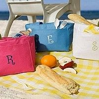 Raspberry, Periwinkle Blue, and White coolor bags with embroidered monogram letters