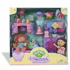 Cabbage Patch Kids Lil Sprouts Sleep Over Party by Play Along. $17.19. A little girl's dream bedroom to hang out with her friends is the Lil Sprouts Cabbage Patch Best Friends Sleepover Party. Also includes floor lamp, bunny slippers, headset MP3 player, TV, cell phone and more. The ultimate play environment for your Cabbage Patch Lil Sprouts Dolls, dolls sold separately. Includes a Lil Sprout size futon couch that doubles as a bed, clothing armoire with hangers, ...
