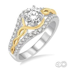 1 1/5 Ctw Diamond Engagement Ring with 3/4 Ct Round Cut Center Stone in 14K White and Yellow Gold