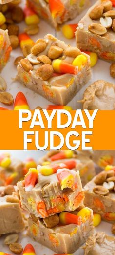 Tastes Like a PayDay Fudge! Payday fudge is an easy peanut butter fudge recipe with peanuts and candy corn. This fudge tastes like a payday candy bar because the candy corn makes it chewy! Everyone who tries it loves this easy fudge recipe. Nutella Fudge, Caramel Au Nutella, Chocolate Fudge, Peanut Recipes, Fudge Recipes, Best Dessert Recipes, Fall Recipes, Candy Corn Fudge Recipe, Baked Fudge Recipe