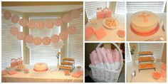 Baptism Party Ideas - Pink and White Baptism Decorations  Baptism Banner