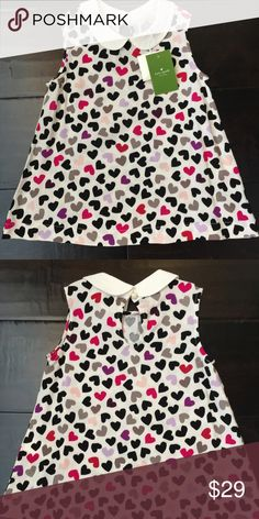 💖 NWT Kate Spade Kids Top 4T 💖 ✨💖NWT💖✨ Kate Spade Kids Sleeveless top. Size 4T with heart pattern. Peter Pan collar. This would look amazing with black leggings and a cardigan for fall! Super cute and brand new. Price is firm. kate spade Shirts & Tops Blouses