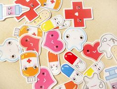 Cute Medical First Aid Kit Sticker Flakes Big Pack of 26- Kawaii Hospital Doctor Medicine Planner Stickers, Calendar Markers, Envelope Seals...