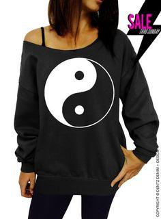 "Use coupon code ""pinterest"" Yin Yang - Black Slouchy Slouchy Oversized Sweatshirt by DentzDesign"