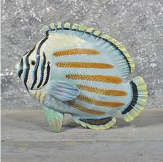 Hand Painted Ocean Fish Wood Carving #11606 - For Sale @ The Taxidermy Store