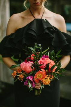 Pink wedding bouquet with greenery - {RK Weddings & Events} Source by weddingwire prom dress bouquet Homecoming Flowers, Prom Flowers, Bridesmaid Flowers, Black Bridesmaids, Black Bridesmaid Dresses, Black Wedding Dresses, Magenta Wedding, Bright Wedding Colors, Bright Colors
