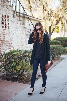 dark green cardigan with black LOFT blouse M Loves M @marmar