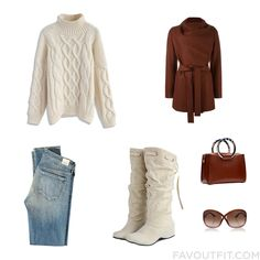 Clothing Collection With Chicwish Sweater Brown Coat Citizens Of Humanity Jeans And Leather Boots From December 2016 #outfit #look