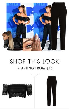 """MTV WITH ARI"" by giovihoran05 on Polyvore featuring River Island, The Row, Steve Madden, black, ArianaGrande, Nat and whitenails"