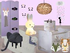 Inspiration Baby girl room inspiration board animals  Les animaux dans la déco de la chambre de bébé mur violet rose lampe miffy lapin lumineux coussin renard suspension lustre en plume pouf enfant tabouret éléphant petite friture