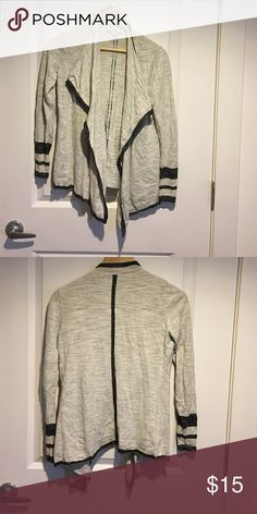 Cardigan Casual cardigan. Light gray/cream and black. LOFT Sweaters Cardigans